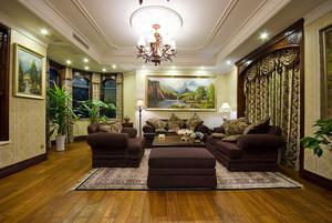 美式田园风风格大户型室内整体设计装修效果图