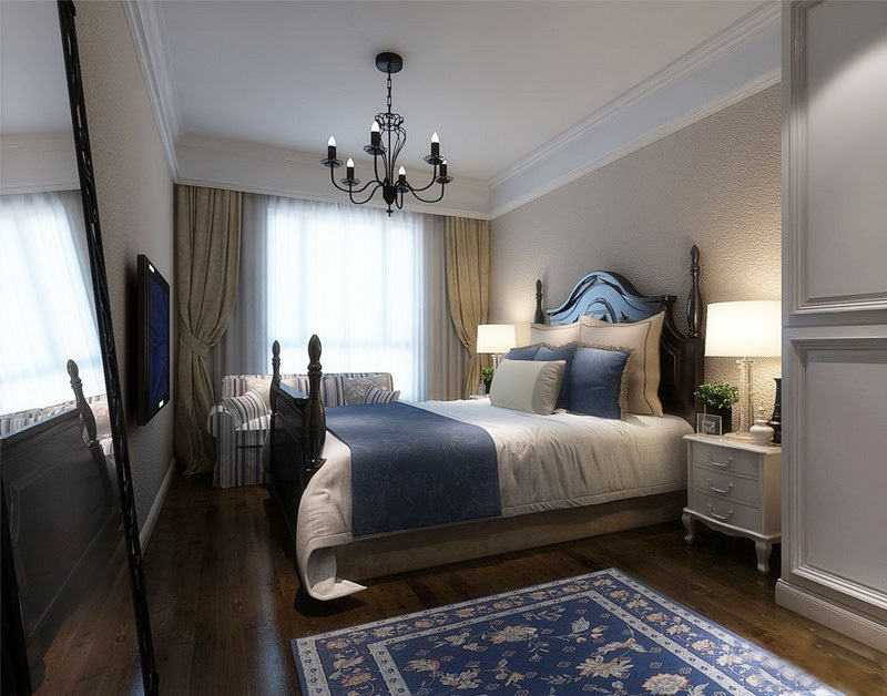 20平米美式风格卧室窗帘设计装修效果图图片