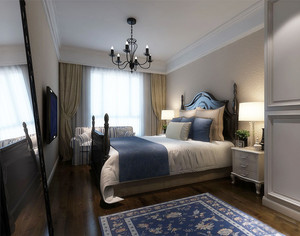 20平米美式风格卧室窗帘设计装修效果图