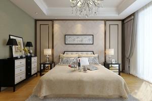复古美式风格主卧室床头背景墙装修效果图赏析