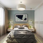 都市清新风格大户型卧室墙纸装修效果图