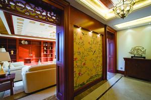 178平米新中式风格色彩混搭三室两厅两卫装修效果图