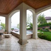欧式风格别墅室外阳台花园装修效果图