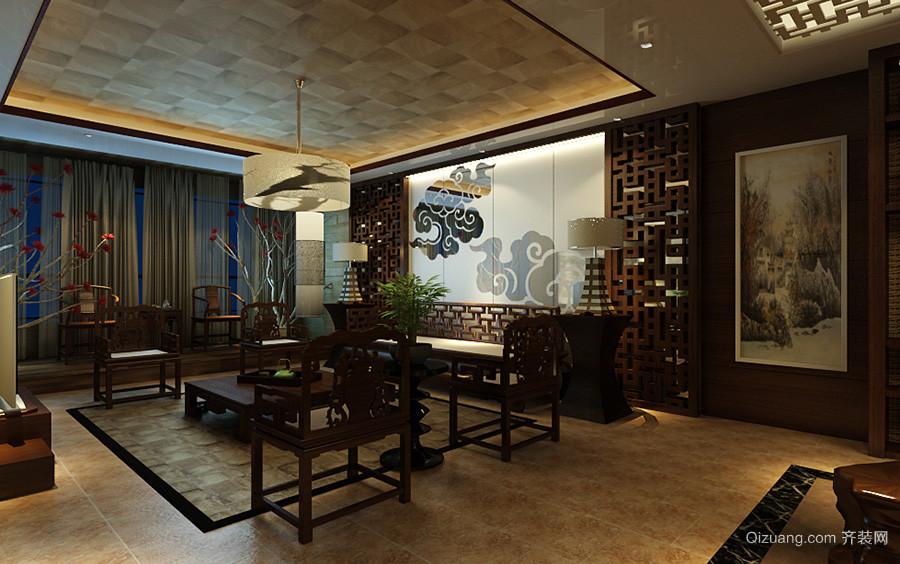 中式古典风格大户型客厅餐厅一体吊顶装修效果图