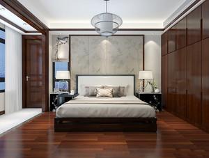 20平米中式风格主卧室带阳台设计装修实景图