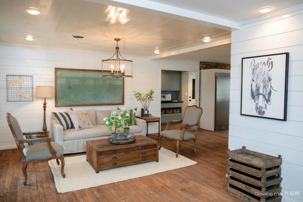 现代美式风格二居室客厅效果图鉴赏