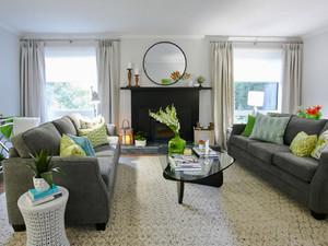 美式田园风格四居室客厅窗帘效果图鉴赏