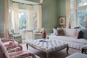 欧式田园风格二居室客厅窗帘设计效果图鉴赏