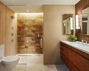 14平米日式风格卫生间玻璃隔断设计效果图赏析