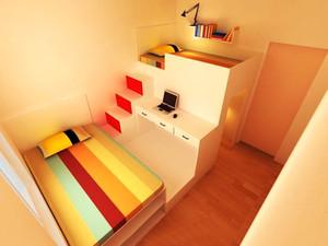现代简约风格三居室双层儿童床设计效果图