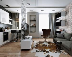 50平米北欧风格精致男生公寓室内装修效果图鉴赏