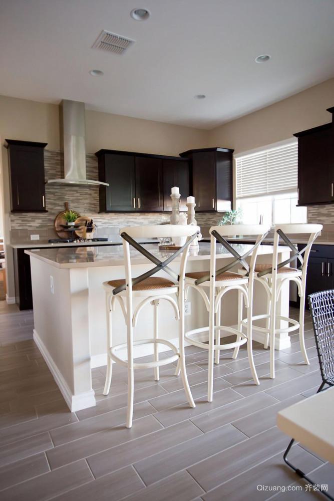 现代美式风格单身公寓开放式厨房吧台设计效果图