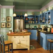 80平米都市小清新风格开放式厨房装修效果图赏析