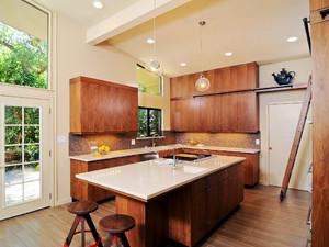 137平米美式乡村风格开放式厨房吧台设计效果图鉴赏