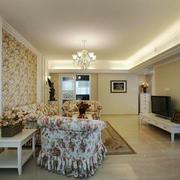 欧式田园风格小户型客厅墙纸装修效果图鉴赏