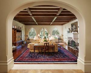 欧式田园风格别墅客厅实木吊顶设计效果图鉴赏