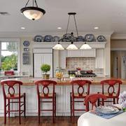 现代美式风格二居室开放式厨房吧台设计效果图赏析
