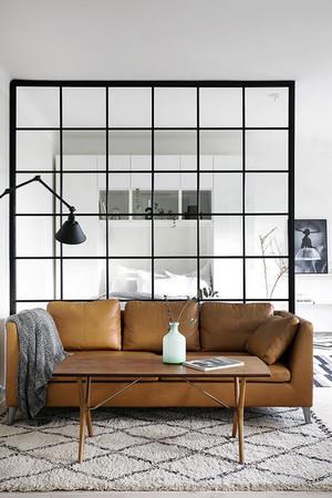 后现代风格单身公寓客厅卧室隔断设计效果图赏析