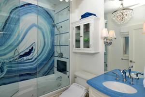 地中海风格二居室卫生间3D瓷砖效果图鉴赏