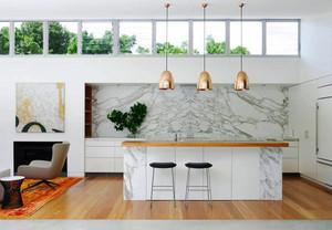 87平米现代简约风格大理石厨房设计效果图赏析
