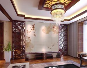 现代中式风格大户型客厅瓷砖背景墙设计效果图赏析