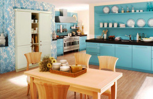 70平米小清新风格蓝色厨房装修效果图赏析