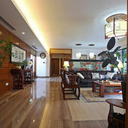 中式风格大户型客厅走廊装修效果图鉴赏