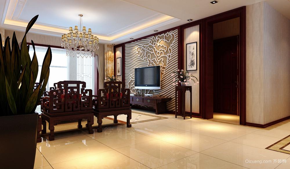 中式风格大户型客厅餐厅设计装修效果图鉴赏