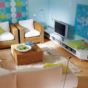 都市小清新风格小户型客厅电视背景墙设计效果图