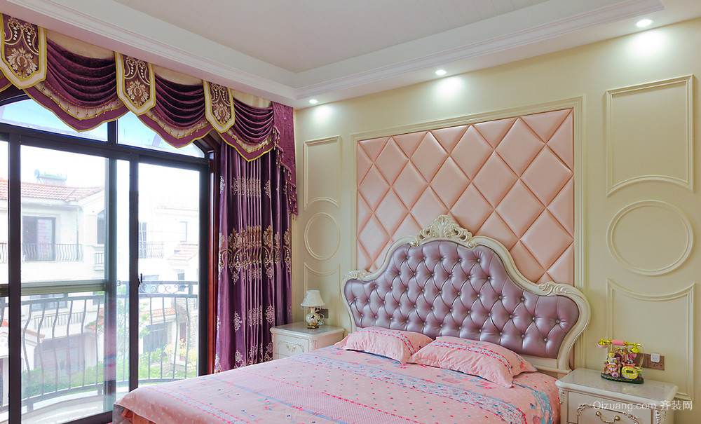 法式风格大户型卧室兼阳台设计装修效果图鉴赏