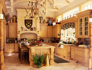 古典欧式风格别墅开放式厨房吧台设计装修效果图鉴赏