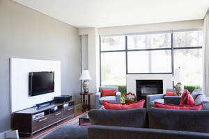 后现代风格三居室客厅电视背景墙设计效果图赏析