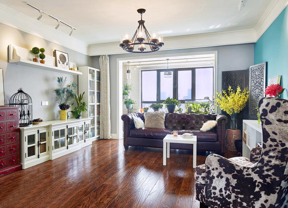 112平米美式混搭风格客厅装修设计效果图赏析