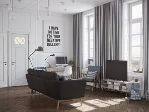 现代工业风格单身公寓室内装修效果图鉴赏
