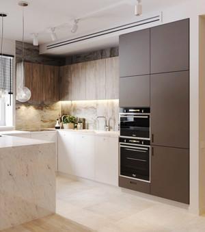 110平米现代简约风格大理石厨房装修效果图赏析