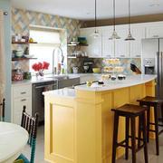 70平米现代美式风格开放式厨房吧台设计效果图赏析