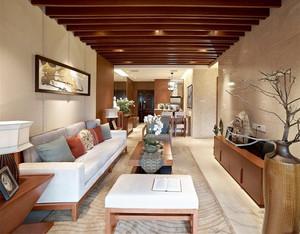 120平米中式风格客厅实木吊顶设计装修效果图赏析