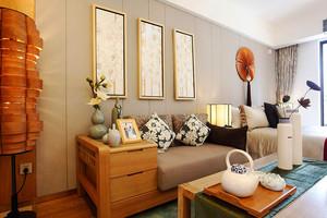 80平米东南亚风格客厅沙发背景墙设计装修效果图赏析
