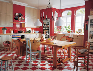 144平米美式田园风格开放式厨房装修效果图赏析