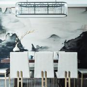 110平米中式风格餐厅背景墙设计效果图赏析