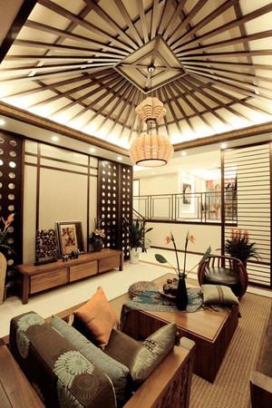 中式风格别墅客厅吊顶设计装修效果图赏析