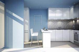 都市简约风格小户型蓝色开放式厨房装修效果图赏析