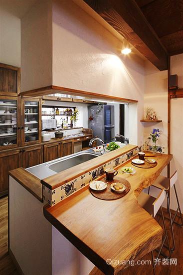 日式风格一居室开放式厨房设计效果图赏析