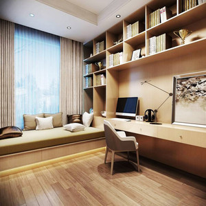 欧式风格四居室书房飘窗设计效果图鉴赏