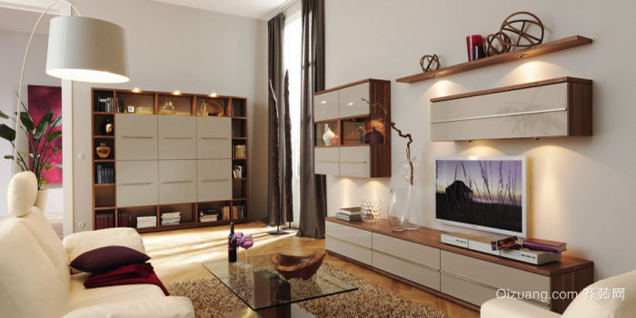 现代简约风格二居室客厅电视背景墙设计效果图赏析