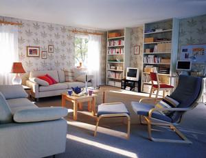 120平米现代简约风格客厅墙纸装修效果图鉴赏