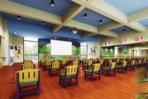136平米轻快风格幼儿园教室手绘墙装修效果图