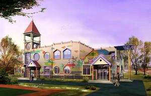 200平米欧式风格幼儿园外观墙面设计装修效果图
