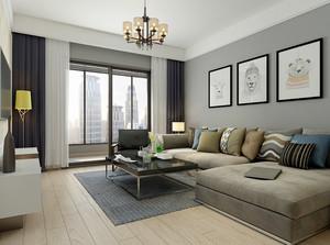 现代简约美式风格两居室室内装修效果图