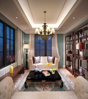 混搭风格大户型客厅中式博古架装修效果图